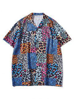 Camisa De Manga Corta Con Estampado De Leopardo - Azul De Arándanos L