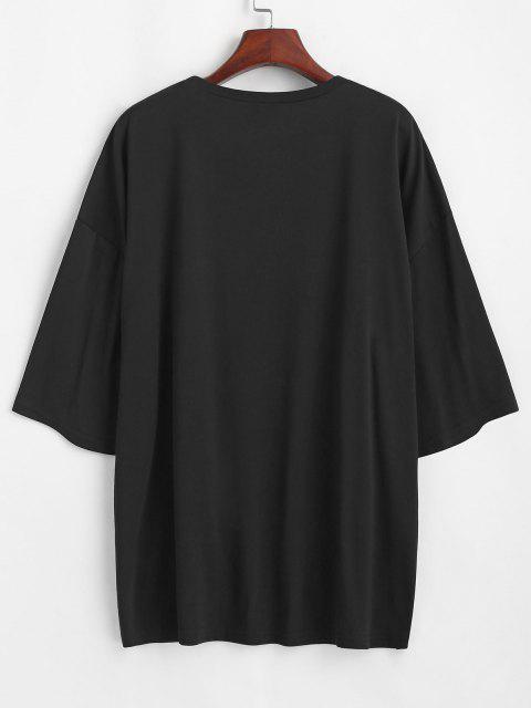 Camisa Plus-size Estampada em Letras de Ispiração para Mulheres - Preto S Mobile