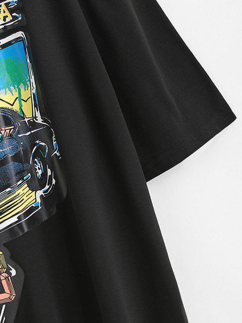 T-shirt Long Lettre Voiture Imprimé à Goutte Epaule Surdimensionné - Noir L Mobile