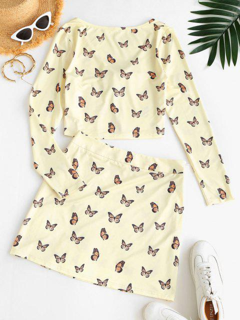 latest ZAFUL Tie Front Butterfly Print Top and Skirt Set - GOLDENROD M Mobile