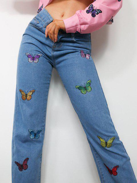 womens Multicolored Butterfly Embroidered Frayed Hem Jeans - BLUE M Mobile