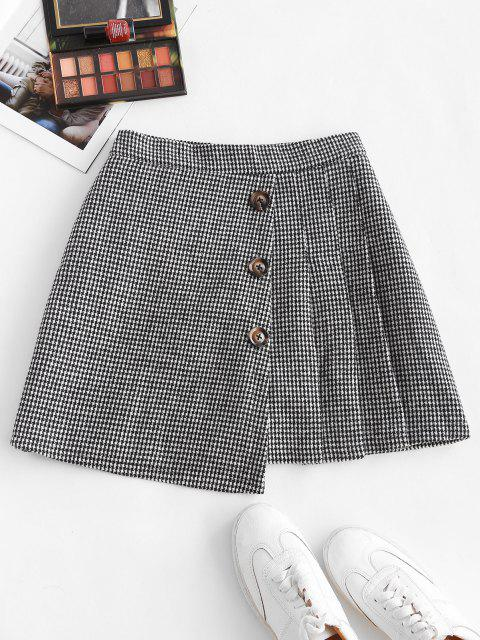 outfits Houndstooth Pleated Overlap Buttoned Skirt - BLACK S Mobile