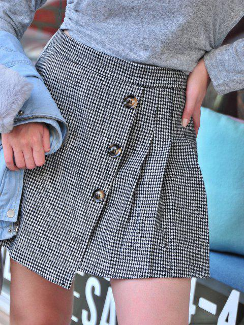 fashion Houndstooth Pleated Overlap Buttoned Skirt - BLACK L Mobile