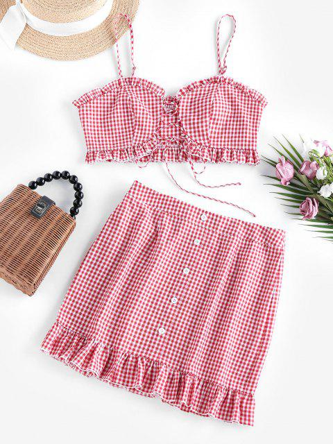 trendy ZAFUL Gingham Lace Up Ruffle Cami Two Piece Set - BEAN RED S Mobile