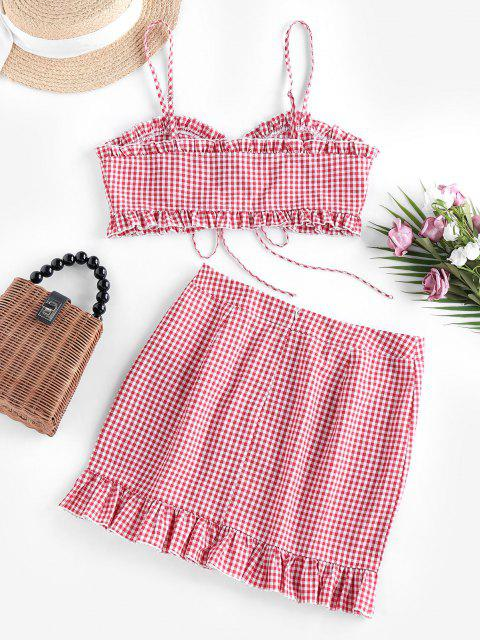latest ZAFUL Gingham Lace Up Ruffle Cami Two Piece Set - BEAN RED M Mobile