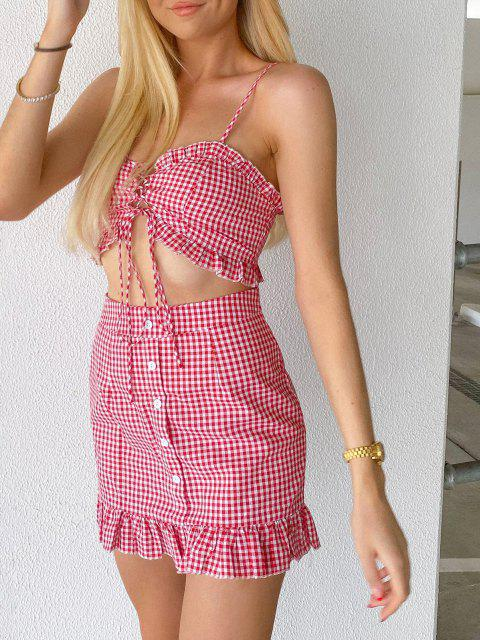 chic ZAFUL Gingham Lace Up Ruffle Cami Two Piece Set - BEAN RED L Mobile
