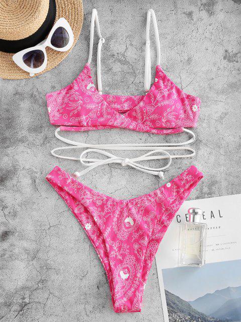 fashion ZAFUL Ethnic Flower Paisley Ribbed Wrap Bikini Swimwear - RED S Mobile