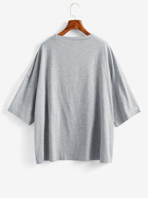 ladies Boyish Letter Graphic Oversized Drop Shoulder Tunic Tee - LIGHT GRAY XL Mobile