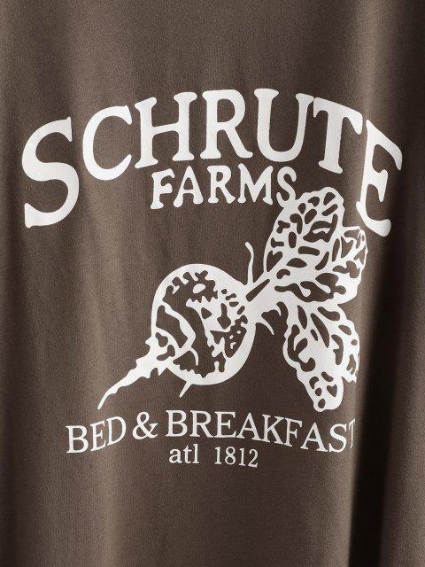 T-Shirt a Tunica Asimmetrica con Grafica di Lettere - colore di caffè scuro  M Mobile