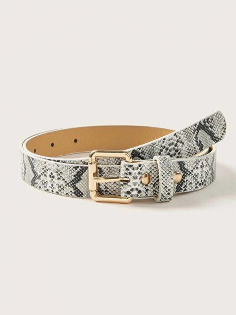 Cintura Stampata in Pelle di Serpente con Fibbia - Nero  Mobile