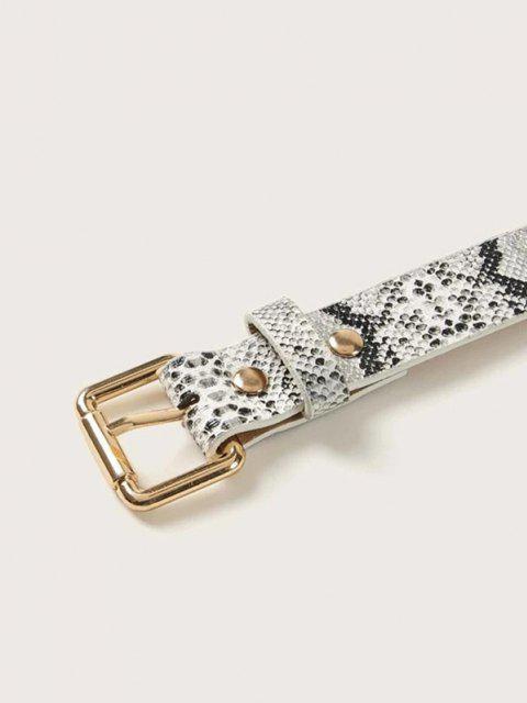 ladies Snakeskin Pattern Buckle Belt - BLACK  Mobile