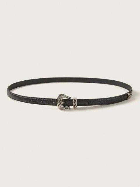 lady Retro Hollow Out Buckle Belt - BLACK  Mobile