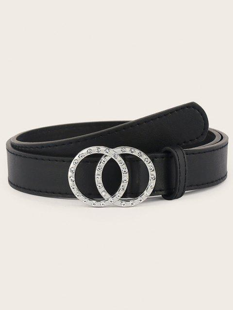 new Double Circle Rhinestone Buckle Belt - BLACK  Mobile