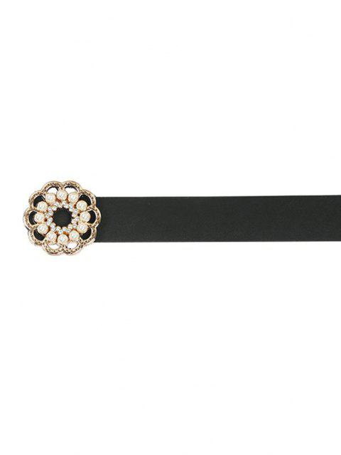 hot Faux Pearl Floral Buckle Belt - BLACK  Mobile