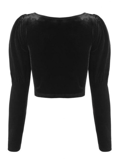 fancy ZAFUL Zip Up Velvet Gigot Sleeve Cropped Blouse - BLACK M Mobile