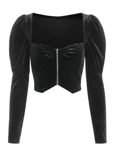 hot ZAFUL Zip Up Velvet Gigot Sleeve Cropped Blouse - BLACK L Mobile