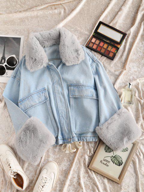 hot Removable Faux Fur Panel Pocket Drawstring Jean Jacket - LIGHT BLUE S Mobile