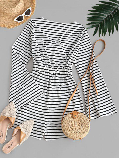 ladies Stripes Flare Sleeve Tie Front Romper - WHITE S Mobile