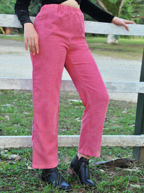 Gerade Hose aus Kord mit Hoher Taille - Dunkelrosa M Mobile