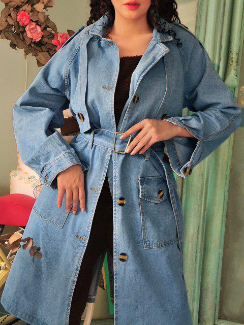best Longline Belted Pockets Denim Trench Coat - DENIM BLUE L Mobile