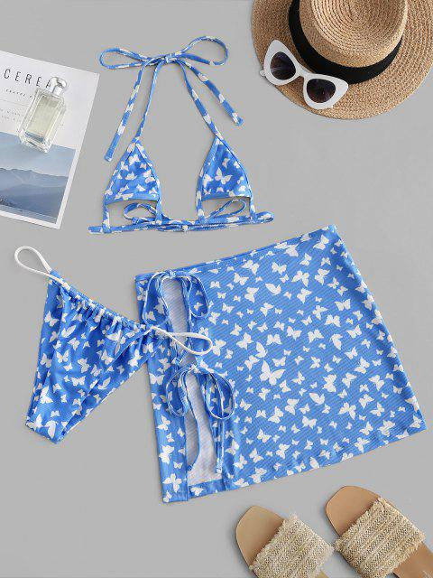 hot ZAFUL Ribbed Butterfly Print Underboob Three Piece Bikini Swimwear - LIGHT BLUE S Mobile