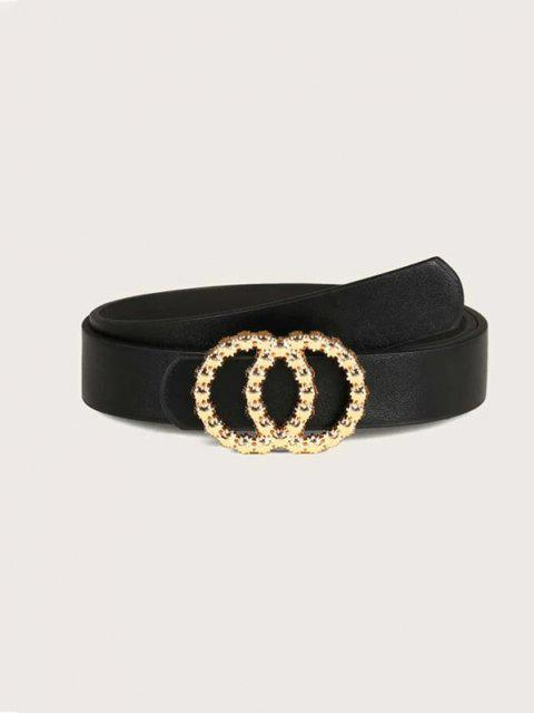 hot Double Circle Irregular Buckle Belt - BLACK  Mobile