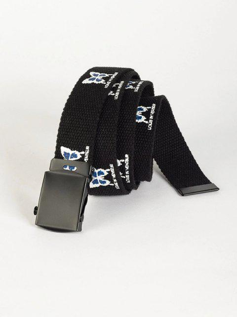 shops Butterfly Printed Canvas Belt - BLACK  Mobile