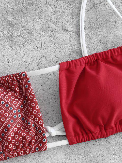 ZAFUL Costume da Bagno Bikini con Stampa di Fiori Piccoli - Rosso S Mobile