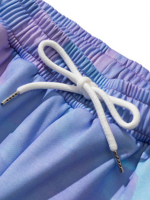 Krawatte Farbstoffdruck Side Pocket Sweatshorts mit Bärspielzeug - Blauer Efeu M Mobile