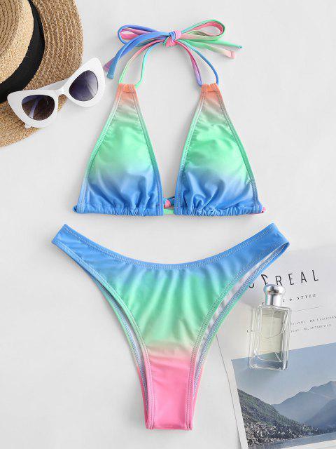Costume da Bagno Bikini di Ombre con Doppia Spallina di ZAFUL a Taglio Alto - Verde S Mobile