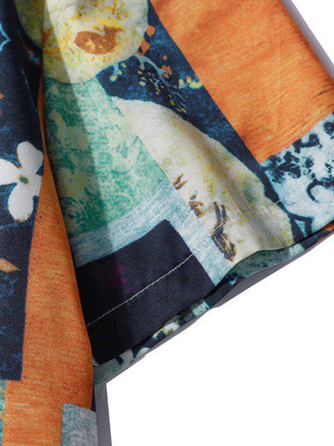 fashion Floral Mixed Print Short Sleeve Shirt - DENIM DARK BLUE L Mobile