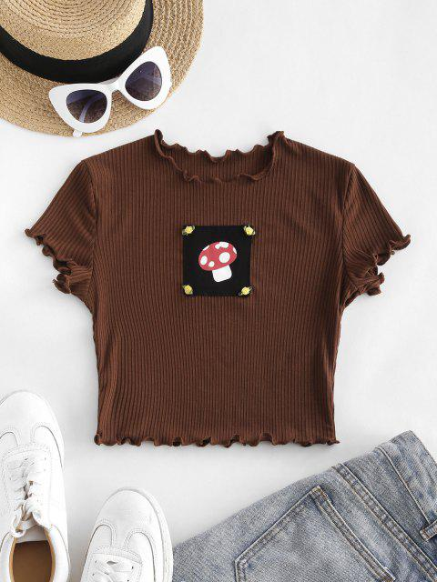 outfit Rib-knit Lettuce Trim Mushroon Patch Baby Tee - COFFEE M Mobile