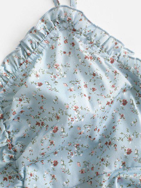Robe Fleurie à Epaule Nouée à Volants - Vert clair XL Mobile