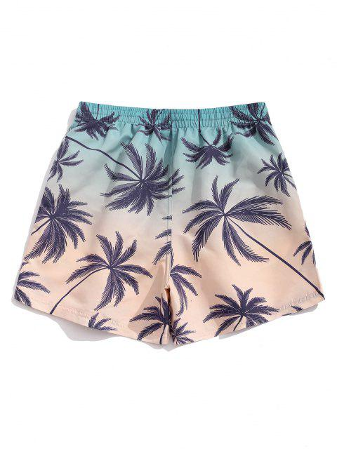 new Palm Tree Ombre Print Vacation Shorts - BABY BLUE M Mobile