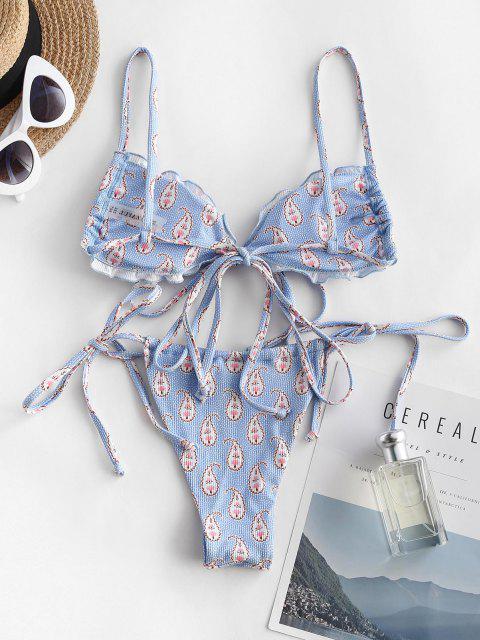 ZAFUL Costume da Bagno Bikini Stampa Boho - Blu S Mobile