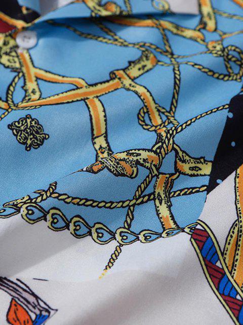 unique Floral Chain Patchwork Baroque Shirt - COBALT BLUE XXL Mobile
