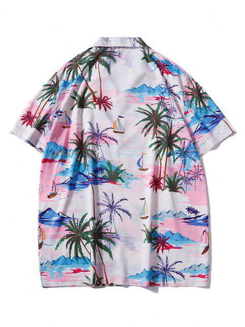 Palm Tree Hawaii Vacation Shirt - ساكورا بينك M Mobile