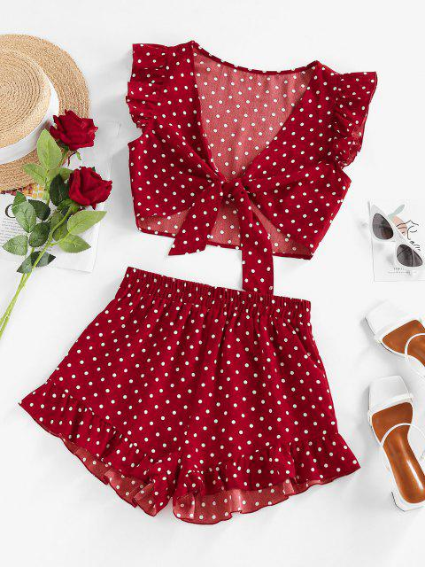 unique ZAFUL Polka Dot Ruffle Tied Loose Shorts Set - RED L Mobile