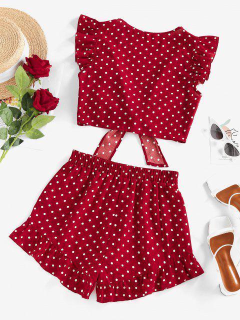 buy ZAFUL Polka Dot Ruffle Tied Loose Shorts Set - RED S Mobile