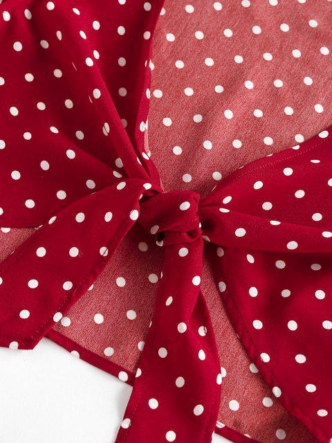 ladies ZAFUL Polka Dot Ruffle Tied Loose Shorts Set - RED M Mobile