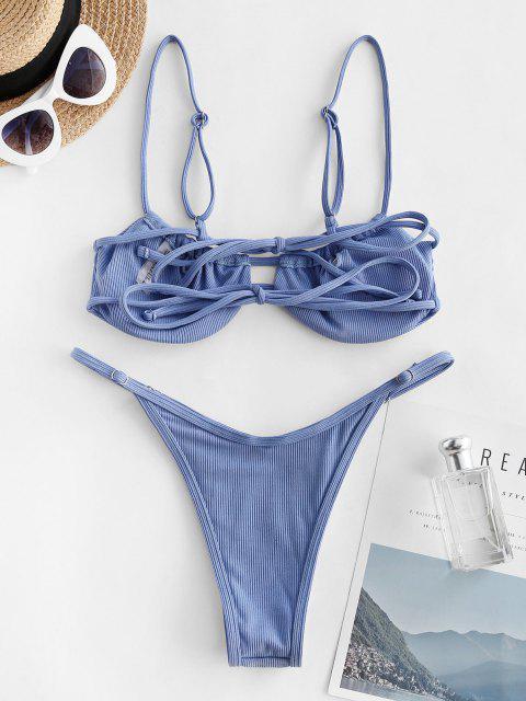 ZAFUL Costume da Bagno Bikini Annodato a Costine con Nodo Indietro e Taglio Alto - Azzurro S Mobile