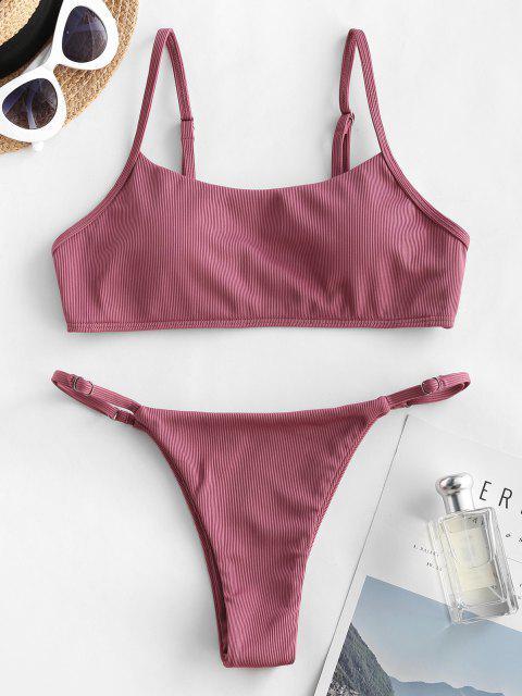 ZAFUL Costume da Bagno Bikini Imbottito con Spalle Scoperte e Scollo a Goccia a Taglio Alto - Rosa chiaro S Mobile