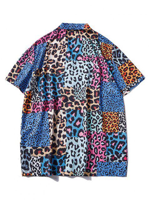 lady Leopard Patchwork Short Sleeve Shirt - BLUEBERRY BLUE L Mobile