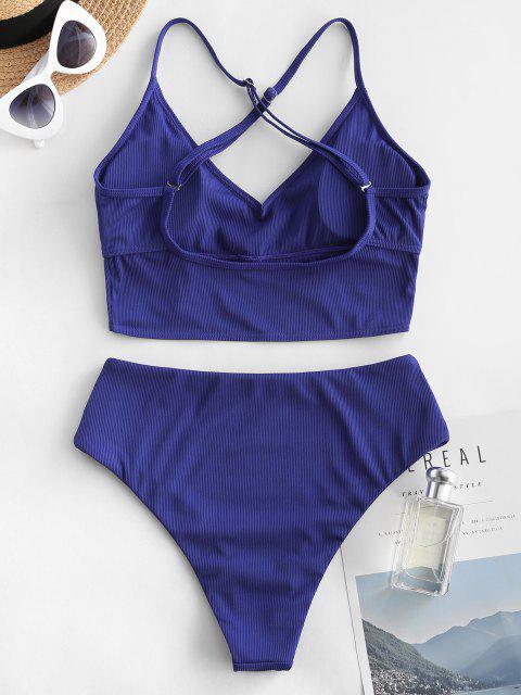 ZAFUL Überkreuzter Gerippte Tankini Badebekleidung mit Hoher Taille - Blau S Mobile