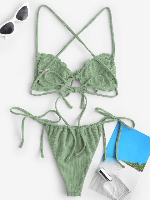 lady ZAFUL Skimpy Textured Ribbed Frilled Ties String Bikini Swimwear - GREEN S Mobile