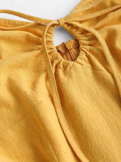 ZAFUL Schlüsselloch Cami Kleid mit Volantsaum - Gelb L Mobile