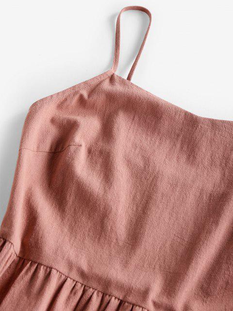 ZAFUL Abgestuftes Kittel Volant Cami Kleid - Hell-Pink S Mobile