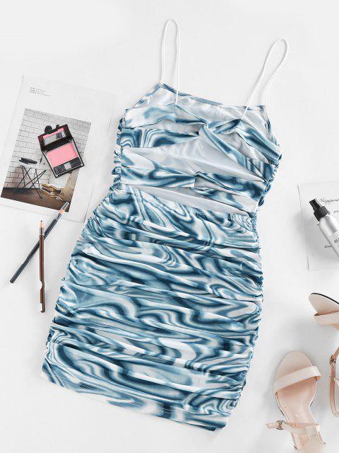 ZAFUL Ausschnitt Verdrehte Bustier Marmor Druck Kleid - Blau S Mobile