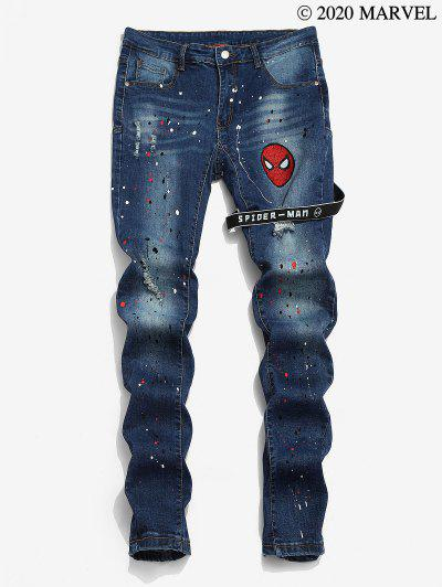 Marvel Spider-Man Embroidered Paint Splatter Ripped Jeans - Deep Blue L
