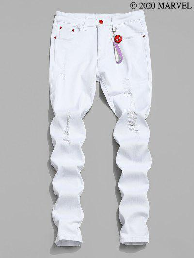 Marvel Spider-Man Ripped Jeans With Keychain - White S